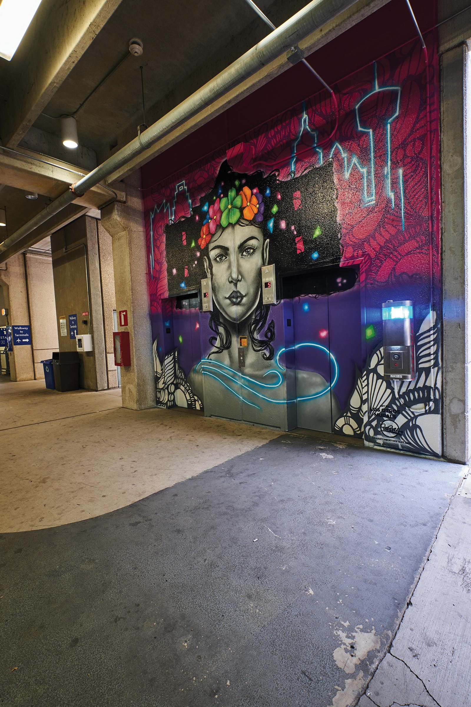 San Antonio airport parking garage mural